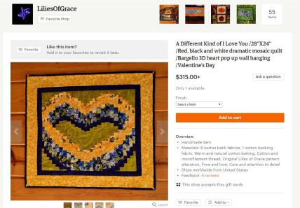 Bargello heart blue and yellow mosaic