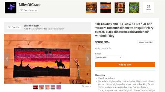 Romantic western silhouette cowboy panel