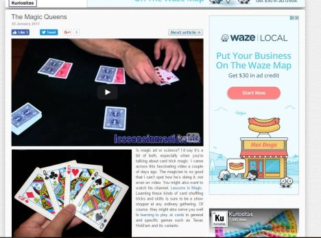 SEO blogging article - card trick article