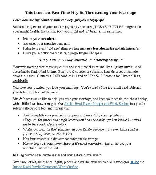 persuasive sales copy product page description