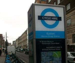 Warren Street is in Euston according to this cycle hire station. The map on the docking station also fails to show the direction of one-way streets because it is a walking map. Doh!