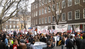 Students gathering outside the University of London Union in Malet Street, WC1