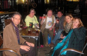 Mike Pentelow (centre) enjoying the life of pubs in Fitzrovia