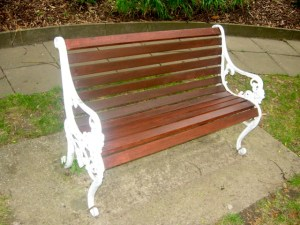 Metal and wood bench seat.