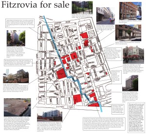 Map of Fitzrovia showing development sites and pictures of buildings