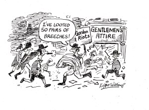 Cartoon showing 18 century rioters