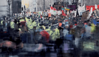 Oil painting of students marhcing through London street.