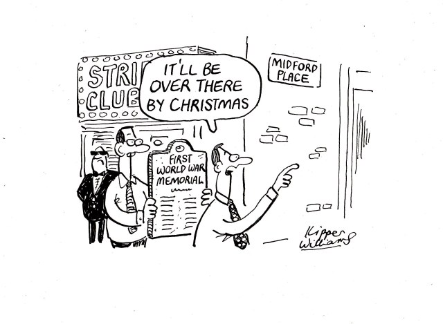 """Cartoon with strip club bouncers. Balloon says: """"It's be over there by Christmas"""""""