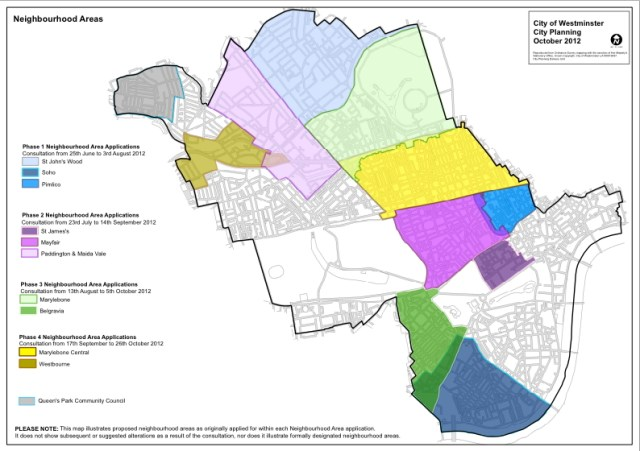 Map showing proposed neighbourhood areas.