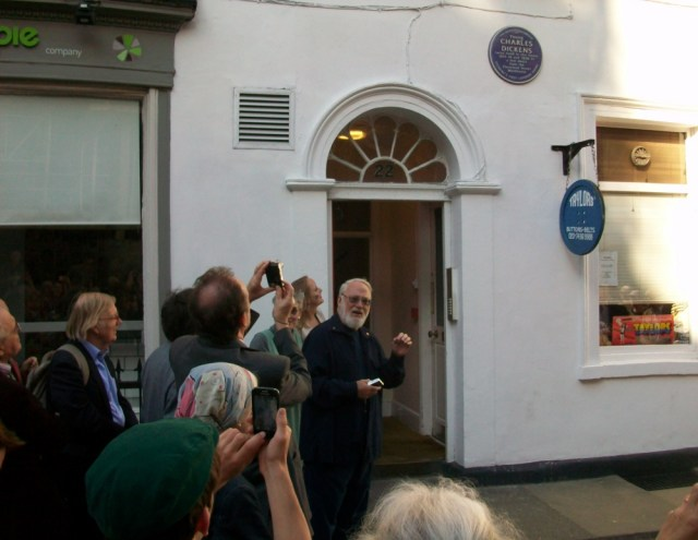 Dan Calinescu and others outside Dickens former home.