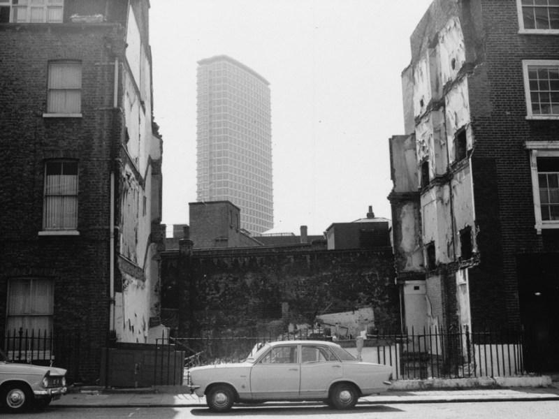 Gap between Victorian buildings.