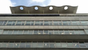 Front of building designed by Richard Seifert and Partners on Berners Street.