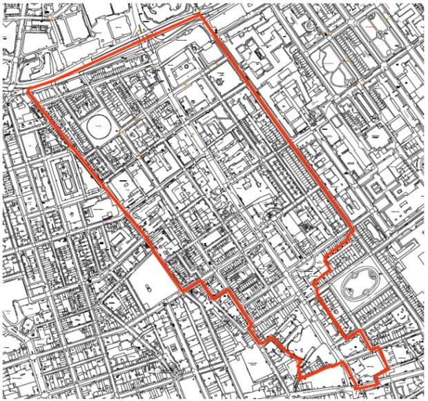 Map of Fitzrovia East neighbourhood area.