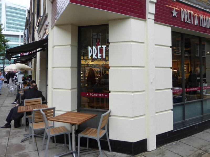 Pret a Manger on corner of street.
