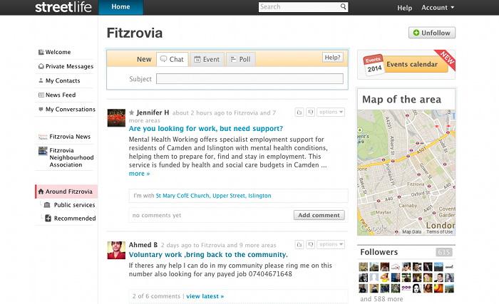Screen image of Streetlife.com.