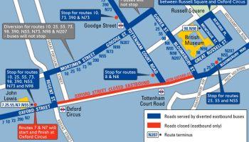 Map of bus diversion routes.