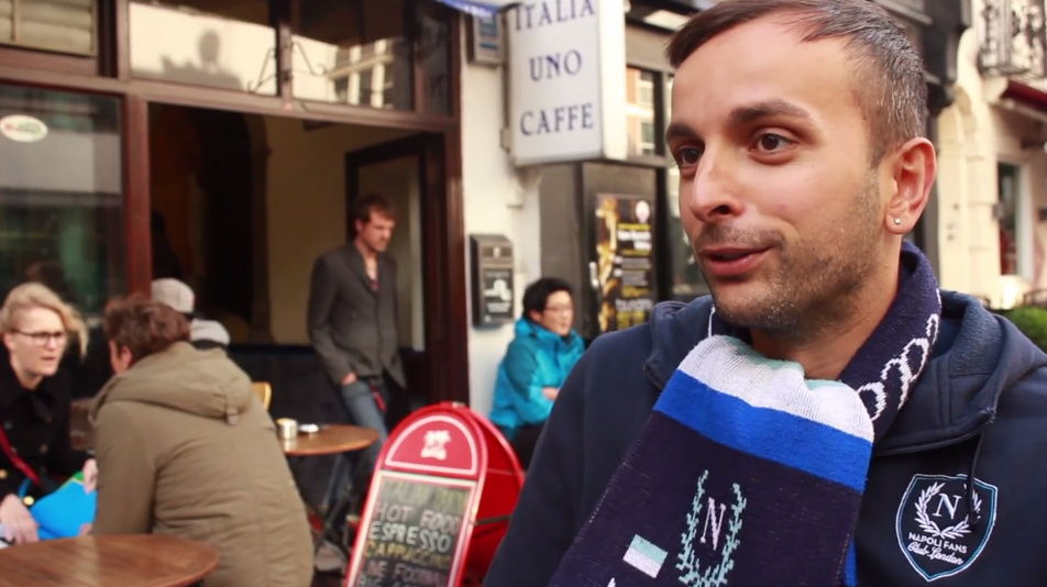 Scene from film outside cafe.