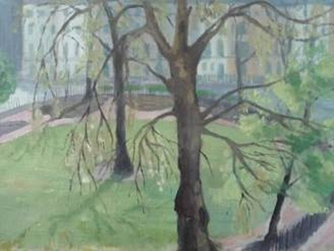 Painting of trees in garden.