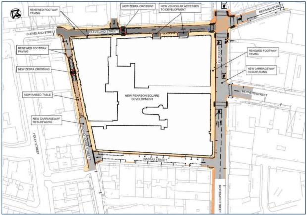 Map of road and paving works around Pearson Square.