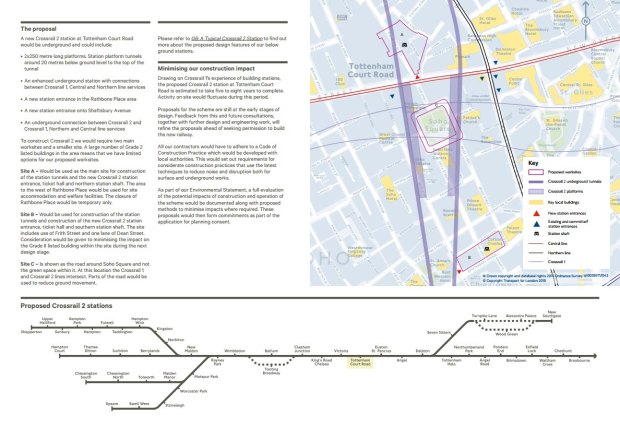 Map of Crossrail 2 proposals at Rathbone Place.