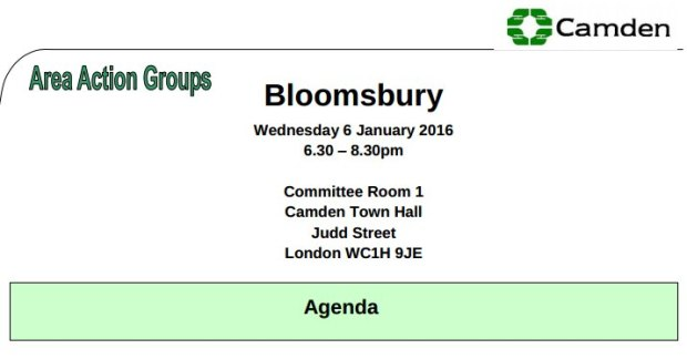 Bloomsbury Area Action Group, 6 Janaury 2016.