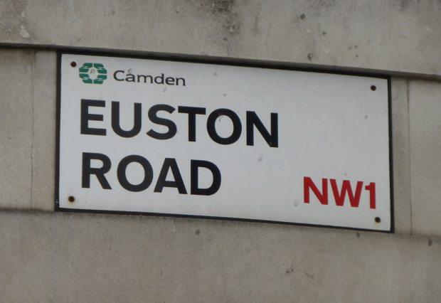 Road sign: Euston Road, Camden, NW1.