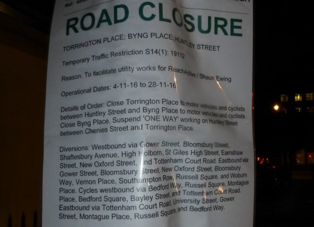 Camden Council road closure notice.