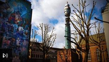BT Tower behind Whitfield Gardens.