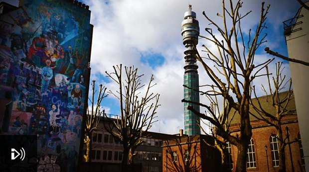 BT Tower behind Whitfield Gardens.