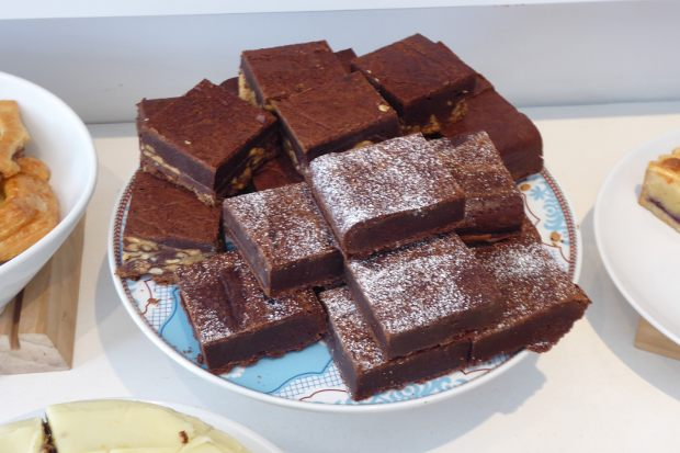 Chocolate brownies on a plate.