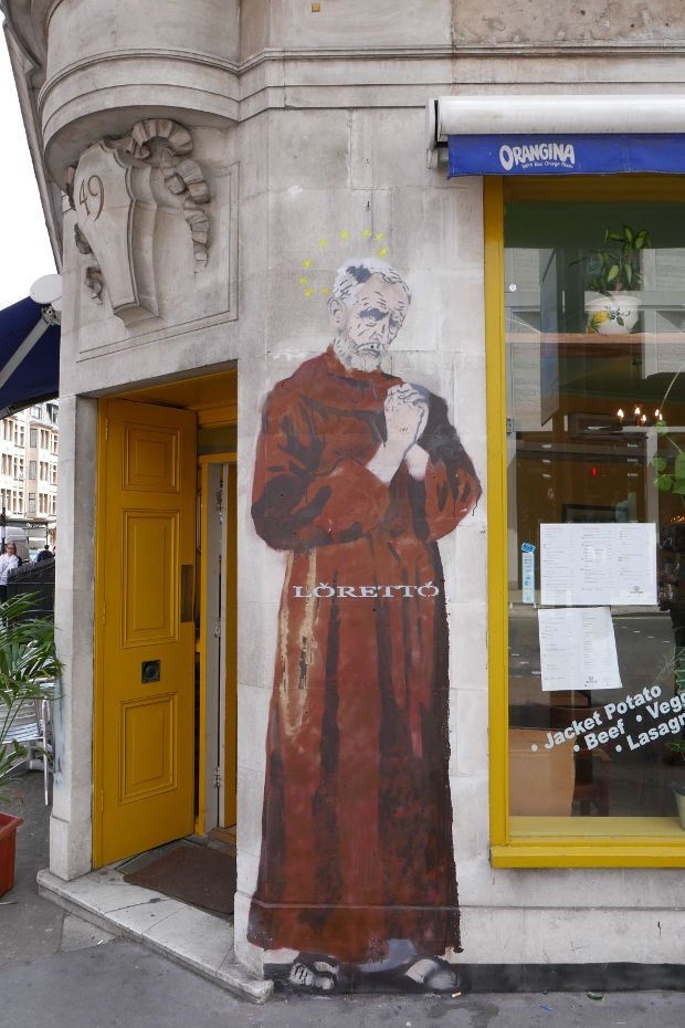 Jeremy Corbyn depicted as St Francis of Assisi.