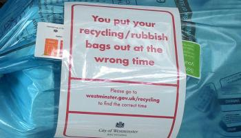 Label on recycling bags.