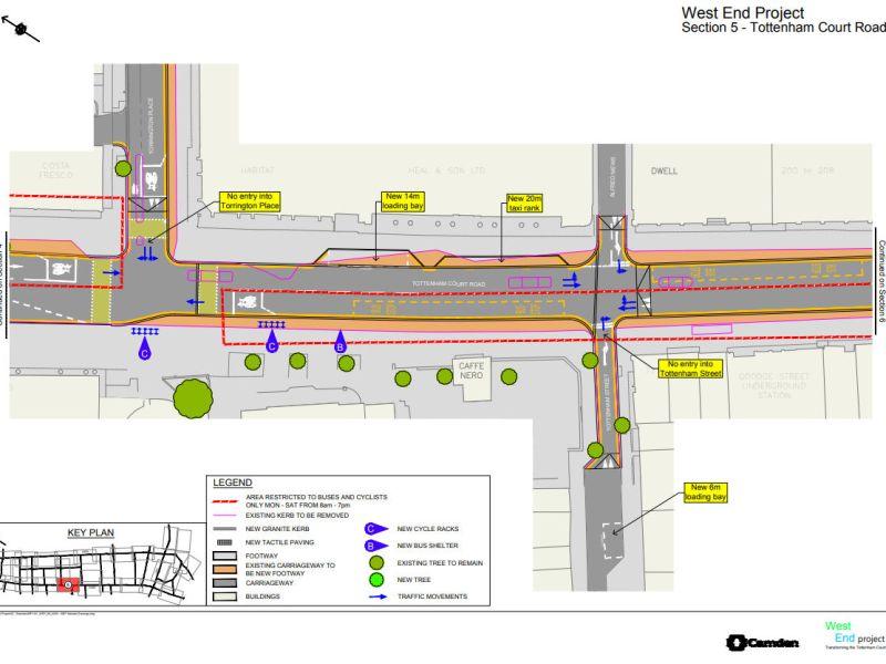 Map of part of Tottenham Court Road.