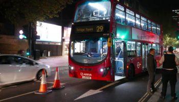 Bus at night.