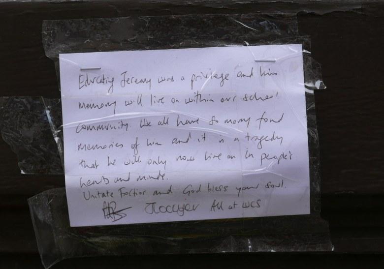 Hand-written message.