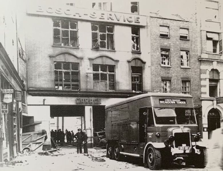 Historic photo showing bombed building in 1940.