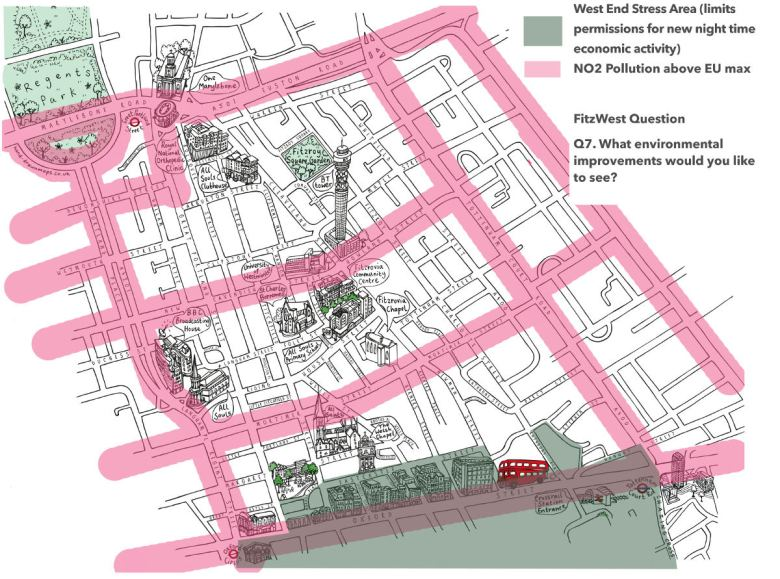 Map of Fitzrovia showing high pollution corridors.