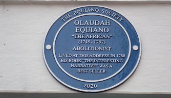 Blue plaque commemorating a site in Tottenham Street, Fitzrovia where Olaudah Equiano lived.