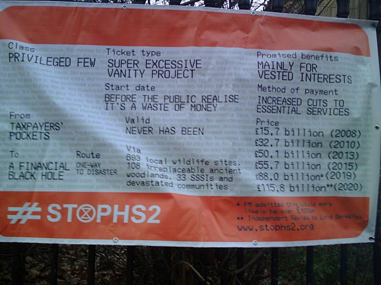Mock train ticket showing the rising financial and environmental cost of HS2.