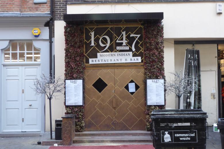 1947 London Restaurant & Bar, 33 Charlotte Street, London W1T 1RR. Photo shows Rathbone Street entrance.