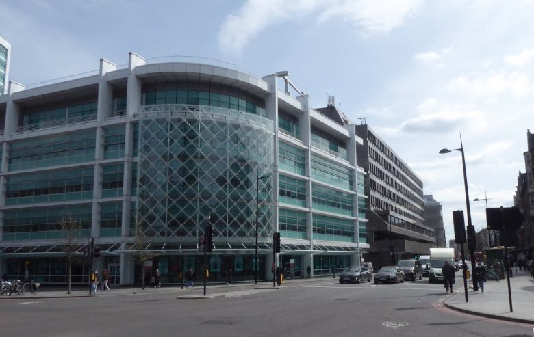 Outside view of University College Hospital on the corner of Euston Road and Tottenham Court Road.