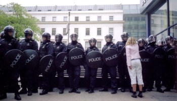 Line of riot police.