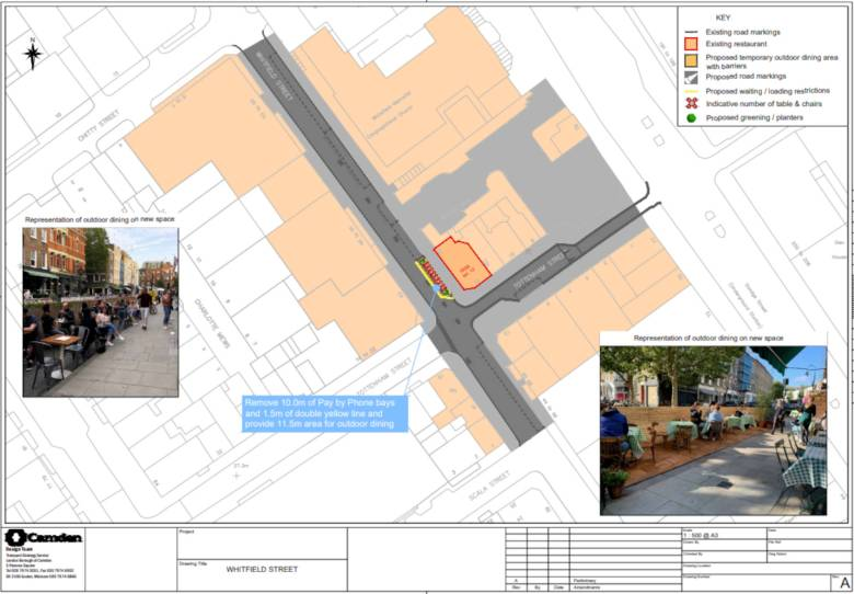 Plan of streatery and parking and loading changes on Whitfield Street.