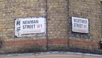 City of Westminster signs for Newman Street and Mortimer Street, Fitzrovia, London.