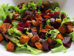 pumpkin and beetroot salad with chickpeas and a honey mustard dressing