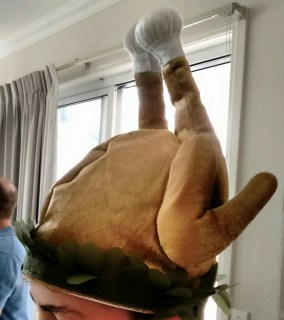 turkey hat at a Thanksgiving party