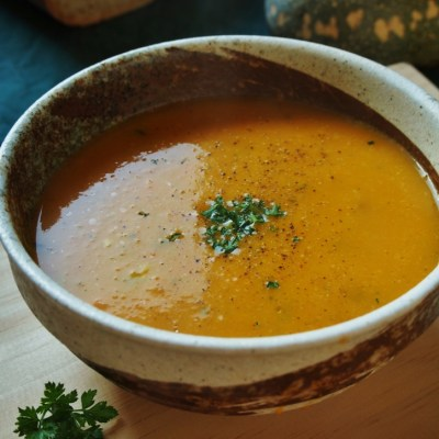 Pumpkin soup made with roasted vegetables