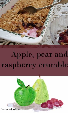 A simple and tasty apple, pear and raspberry crumble that's a little bit healthier
