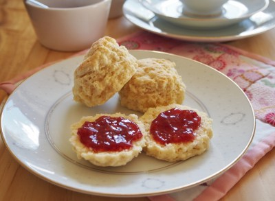 lovely scones with jam and cream
