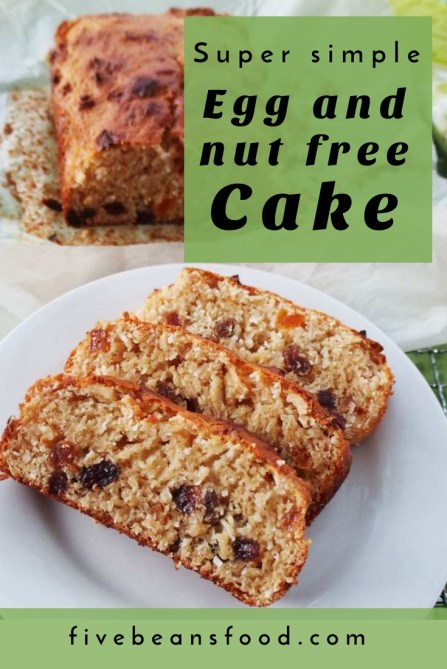 A delicious and super simple loaf cake thats great for food allergies as it has no eggs or nuts